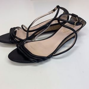 Elie Tahari Heather Demi Wedge Black Strappy Heels